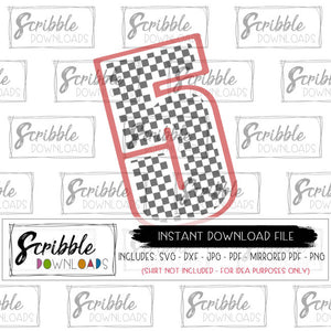 5 cars svg number five checkered flag car theme party attire DIY digital download instant printable iron on transfer email safe secure fast last minute easy free commercial use sublimation art clipart boy boys kids 5 pinterest popular cricut silhouette craft project