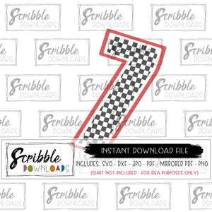 7 seven SVG DXF cut file Silhouette Cricut graphic clipart easy digital download instant email seven race car flag checkered 7 bday party graphic kids boy girl car theme party SVG iron on transfer