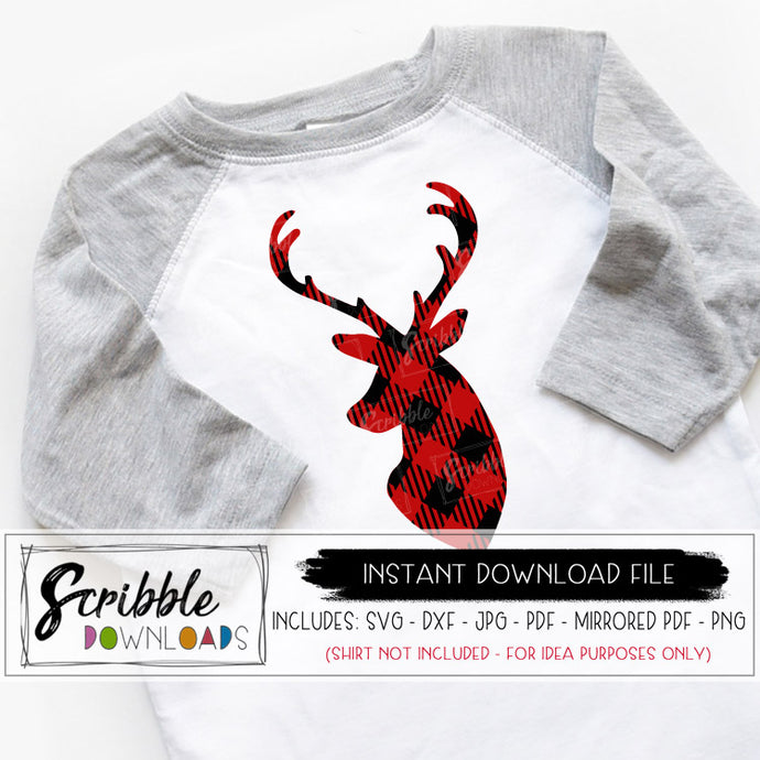 Reindeer head SVG buffalo plaid cute christmas cut file for silhouette or cricut design space heat transfer vinyl iron on transfer shirt graphic sublimation digital download instant printable