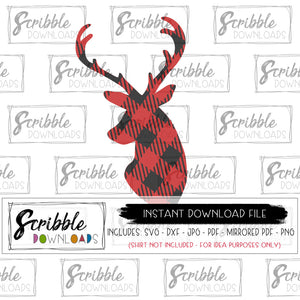 SVG Christmas Deer Reindeer buffalo plaid popular cut file cricut silhouette studio design space easy to use and download layered SVG DXF cut file sublimation graphic mirrored PDF for iron on transfer printable graphic make your own shirts DIY