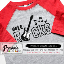 one rocks SVG 1 year old cricut silhouette vinyl cut file cute trendy music party bash cake smash cool rocker 1 one first 1st birthday guitar musical digital download printable iron on shirt DIY craft free commercial use