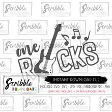 1 year old guitar SVG one rocks music digital download instant printable graphic clipart iron on shirt print fast easy popular last minute gift trendy cool boy girl kids baby music bash party cake smash cricut silhouette free commercial use