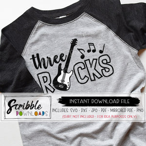 three rocks SVG 3 3rd three third SVG DXF PDF PNG JPG Cricut Silhouette Vinyl Cut File Digital Download printable Iron on shirt DIY craft music guitar birthday bash Bday concert 3 year old boy girl kids toddler cute popular free commercial use