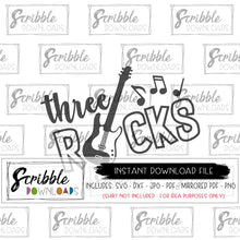 3 three third 3rd SVG Three Rocks music SVG DXF PDF PNG JPG Cricut Silhouette cut file Vector clipart easy last minute shirt gift 3 year old boy girl music lover cool hip band electric guitar rock n roll svg DXF PDF PNG JPG