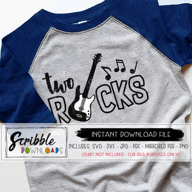 Two Rocks 2 2nd second SVG Cricut Silhouette cut file 2 year old birthday bash Printable iron on transfer shirt last minute easy fast secure cute boy kids girl rock and roll music concert cool hip trendy SVG boys