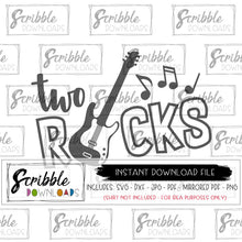 2 rocks SVG DXF PDF PNG JPG Digital Download File Free commercial use Cricut Silhouette 2 2nd two second birthday 2 year old cute popular musical