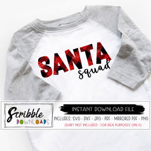 Santa Squad SVG DXF cut file silhouette cricut digital download instant printable iron on transfer graphic shirt buffalo plaid matching cousin family SVG sublimation art clipart kids youth mom dad boy girl