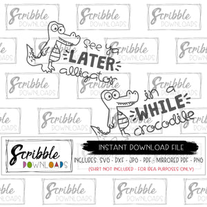 Animal Twins SVG Alligator Crocodile See ya later alligator in a while crocodile SVG DXF PDF PNG JPG Cricut Silhouette Vinyl Cut File Free commercial use Printable digital download instant fast secure easy safe cute popular