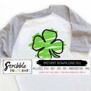 shamrock svg clover svg cut file cricut silhouette svg dxf pdf png jpg vinyl craft project clipart sketch hand drawn scribble cute farmhouse kids svg boy girl st patrick's day 4 leaf clover art coloring vector green popular easy last minute digital download email safe secure free commercial use