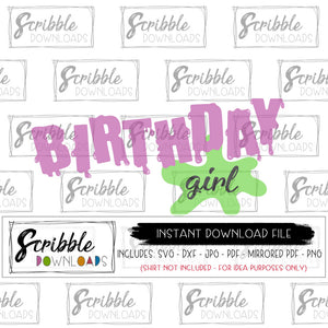 Birthday Girl SLIME SVG Bday party science smart nerd cute mad scientist science experiment party bday girl 3 4 5 6 7 8 9 10 digital download free commercial use vinyl cut file SVG DXF PDF PNG JPG mirrored PDF Silhouette Cricut vinyl cut file slime font