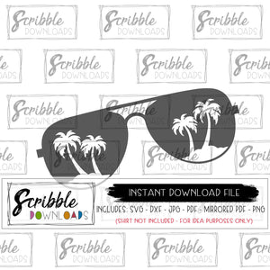 Sunglasses beach svg Beachin' palm trees SVG DXF PDF PNG JPG Cricut Silhouette Vinyl Cut File beach vacation ocean cruise printable iron on shirt transfer digital download file