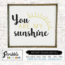 You are my sunshine SVG DXF PDF PNG JPG instant digital download file cut cricut cricket silhouette cuts a lot vinyl project supplies template clipart stencil. Hand drawn cute popular kids room decor farmhouse farm style last minute gift printable at home DIY instant gift baby baby shower love bride wedding free commercial use