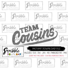 cousins matching team cousins graphic to make your own shirts using heat transfer vinyl or included mirrored PDF for an iron on transfer print at home