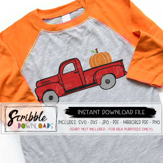 pumpkin farm truck old fashioned antique farm farmhouse fall autumn svg dxf pdf vector graphic clipart iron on transfer for shirt silhouette cricut cut file