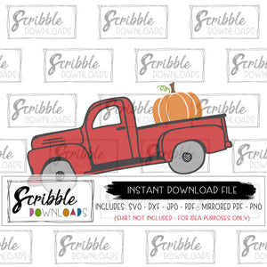 truck svg dxf old fashioned autumn pumpkin farmer graphic vector mirrored PDF iron on transfer shirt cute popular for fall or autumn cricut silhouette vinyl easy cheap hand drawn