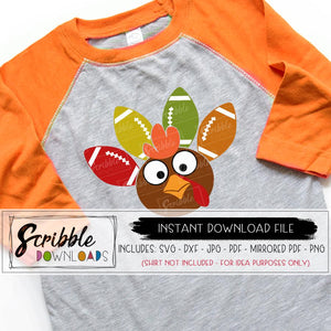 Turkey football svg digital download vinyl cut file silhouette cricut HTV kids cute thanksgiving day shirt DIY printable iron on shirt transfer cute popular boy girl kids teen funny matching easy colorful turkey sports football easy fast safe secure free commercial use clipart vector