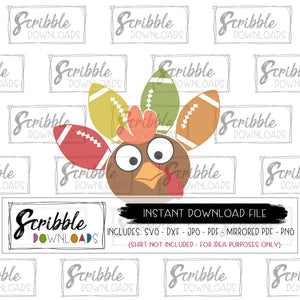 football turkey cartoon clipart vector digital download SVG DXF PDF PNG JPG Mirrored PDF craft diy iron on shirt printable transfer cute kids boy girl thanksgiving shirt footballs turkey gobble funny holiday colorful cricut silhouette vinyl cut file HTV free commercial use safe secure trendy pinterest best seller email fast last minute matching cousins siblings family holiday thanksgiving svg turkey