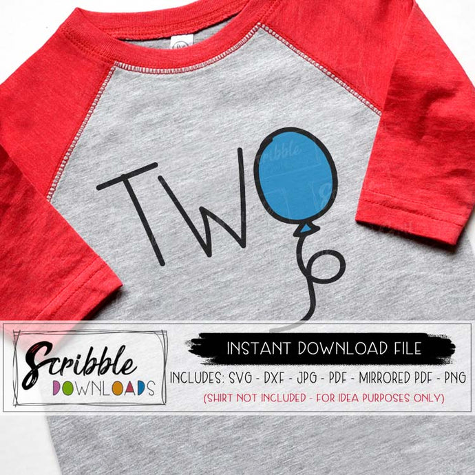 2 balloon two birthday 2nd SVG DXF PDF PNG JPG Cricut Silhouette vinyl cut file DIY iron on transfer shirt graphic digital download instant email vector graphic popular cute kids baby boy girl toddler SVG