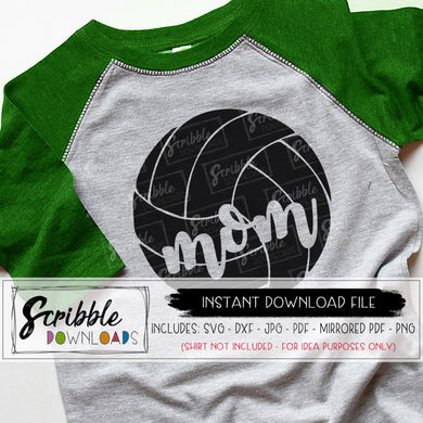 Volleyball Mom svg dxf cricut and silhouette cut files for HTV vinyl applications vector graphic PDF mirrored for iron on transfer shirt popular mom sports graphic