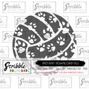 svg dxf vector clipart volleyball with inset paw prints dog big cat cougar panther coyote team mascot cheer mom volleyball mama iron on shirt transfer mirrored PDF vector graphic clipart digital download cricut silhouette vinyl cut file easy fast safe secure pinterest best seller popular team sports school logo volleyball girls mom fan cheer