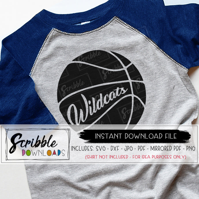 Basketball wildcats SVG digital download printable iron on shirt craft sports team ball bball hoops mom mama fan cheer school dunk boy kids teen gear Vinyl cut file silhouette cricut easy fast safe secure pinterest best seller free commercial use team logo mascot wildcat