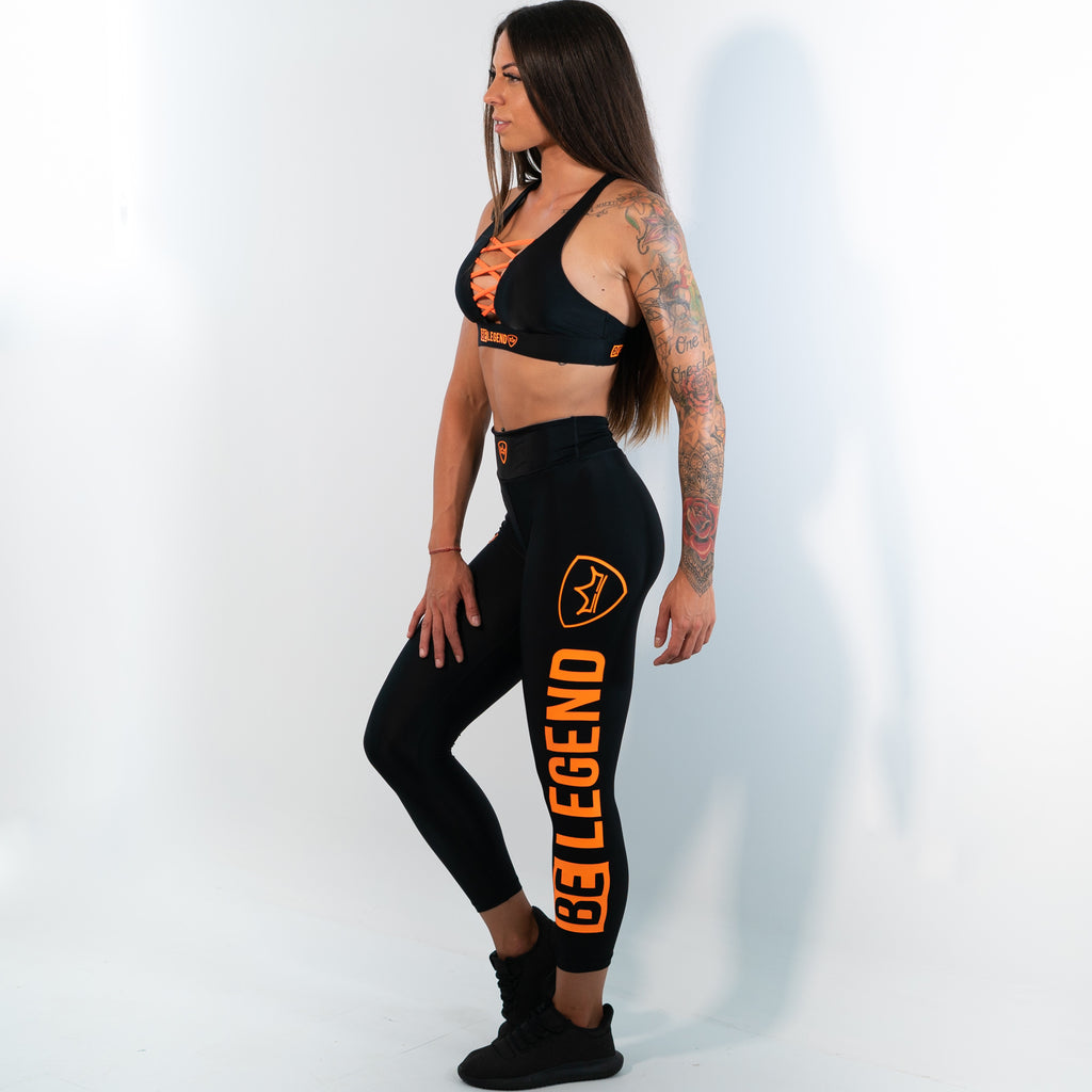 Leggings - Neon - Black/Orange