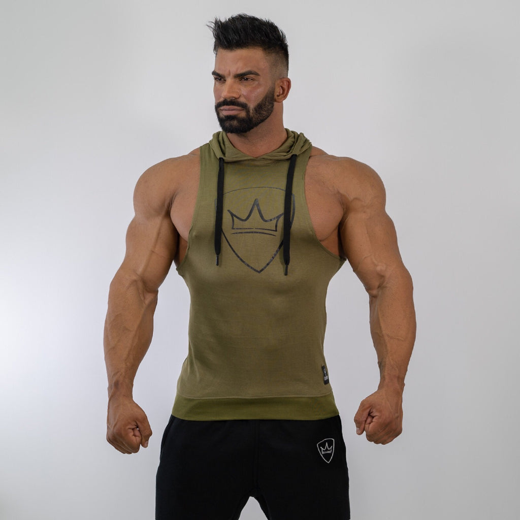Sleeveless & Hood Shirt - Green