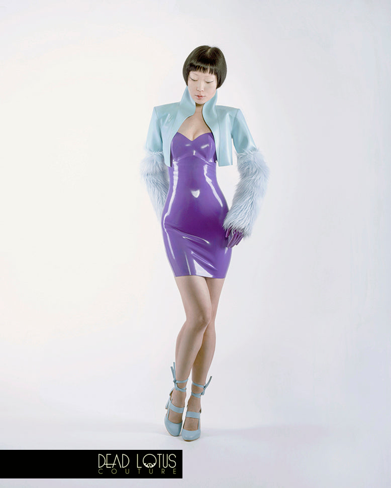 KIUSA Mini Dress; strapless thigh-length dress in Purple latex with a turquoise bolero by Dead Lotus Couture on female model