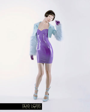 MONSTRUM Latex Bolero Jacket with integrated Faux Fur sleeves, large collar worn down by female model. Dead Lotus Couture