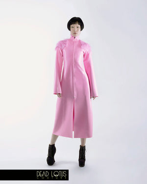 ARMUM long latex trench coat with faux fur; bubblegum pink latex with long front zipper by Dead Lotus Couture on female model