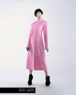 Long Trench Coat ARMUM by Dead Lotus Couture, Pink Latex, Fake Fur Shoulders and Collar worn by female model
