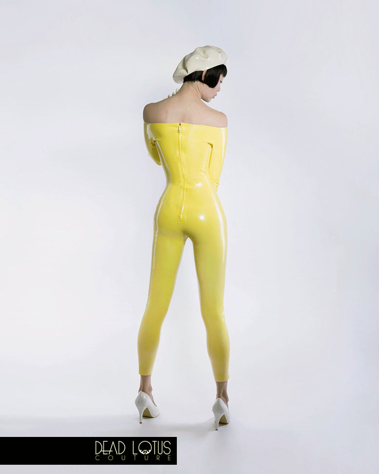 MALUM Off The Shoulder Catsuit with long sleeves and ankle-length legs in Yellow latex by Dead Lotus Couture on female model