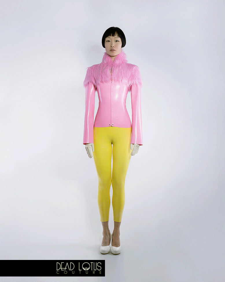 Latex Outfit MALUM: Off-Shoulder Yellow Catsuit, Pink Jacket with Faux Fur Neck/Shoulders, by Dead Lotus Couture female model