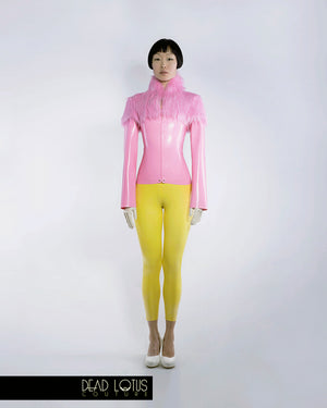 MALUM Jacket with Faux Fur collar & shoulders, full length zip; Bubblegum pink latex by Dead Lotus Couture on female model
