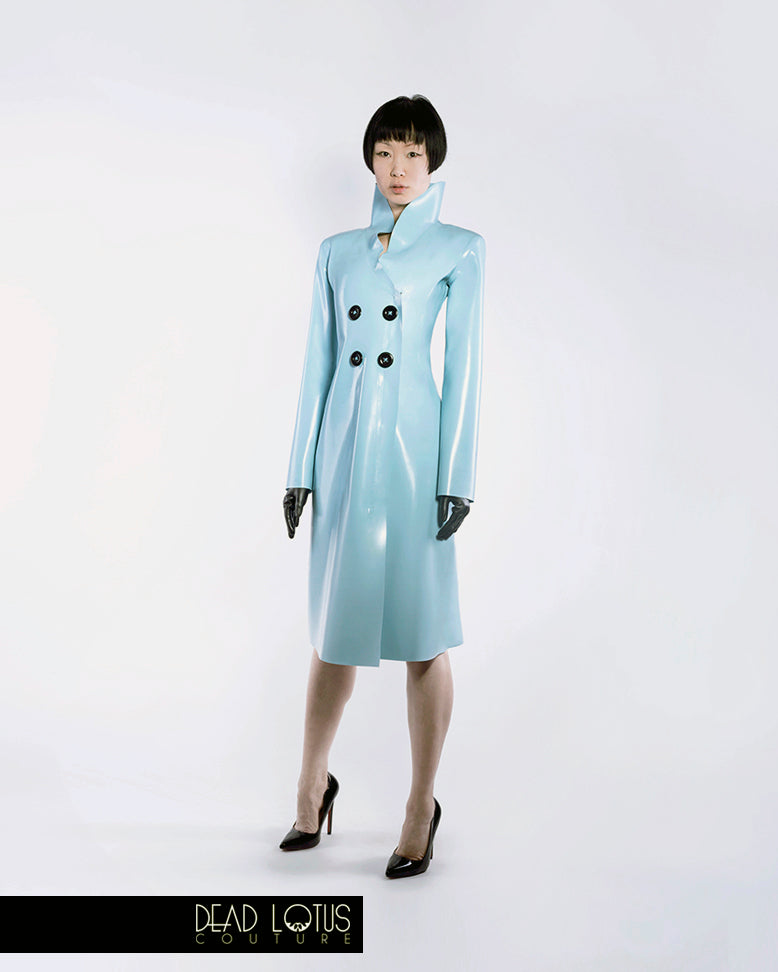 Classic Trench Coat PLUVIA: Turquoise Latex with high collar & zip, black Wrist Gloves by Dead Lotus Couture on female model