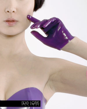 Latex Wrist Gloves in purple by Dead Lotus Couture worn by female model