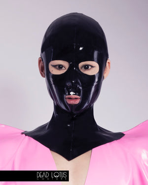 BELLUM MONSTRUM Masked Latex Clubwear Outfit with Crop Top Bra & Faux Fur Trousers