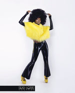 Faux Fur Outfit BESTIA: Yellow Top, Black Latex Trousers with two hip zippers by Dead Lotus Couture worn by female model
