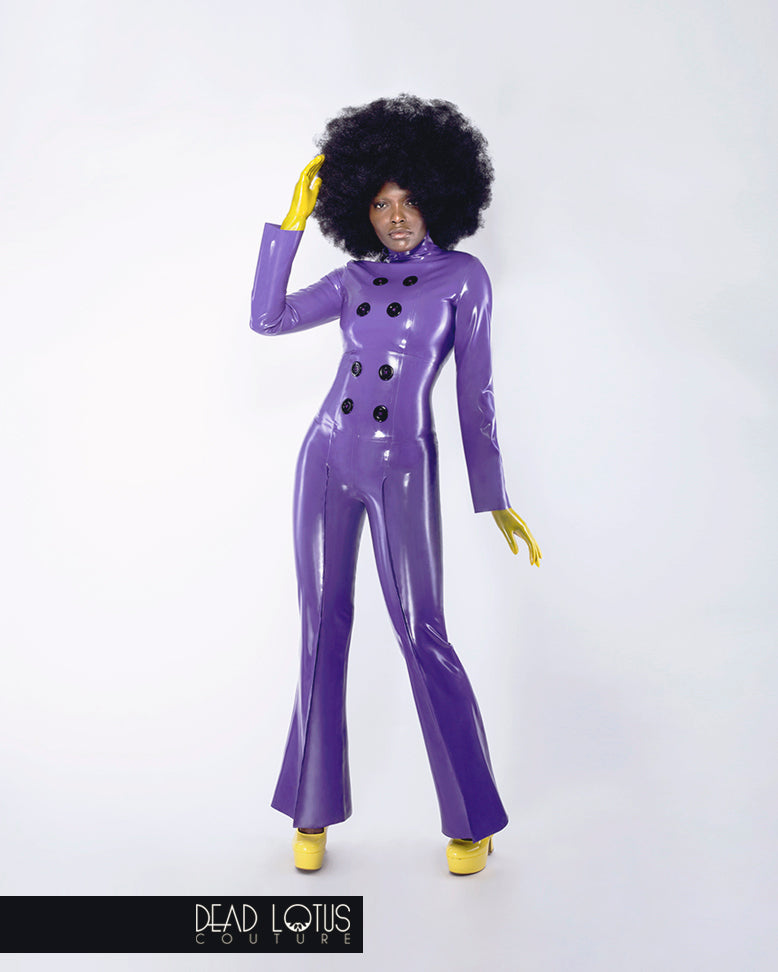 Purple latex long sleeve crop top with large buttons, high neck, back zip by Dead Lotus Couture on female model