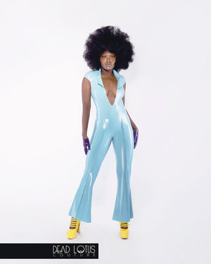 DIABO Catsuit; disco style, Turquoise latex, low neckline, wide collar, bell bottoms by Dead Lotus Couture on female model