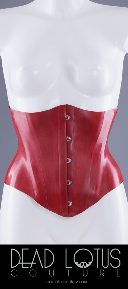 MADAM ROXEY Under-bust Latex Corset in red with five front clasps on a mannequin by Dead Lotus Couture