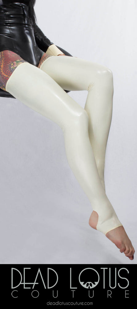 White Stirrup Latex Tights by Dead Lotus Couture on a female model's legs