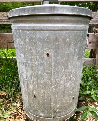 Homemade compost bin from trashcan