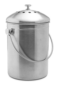 Stainless Steel Compost Bin with Charcoal Filter (1.3 Gallon)