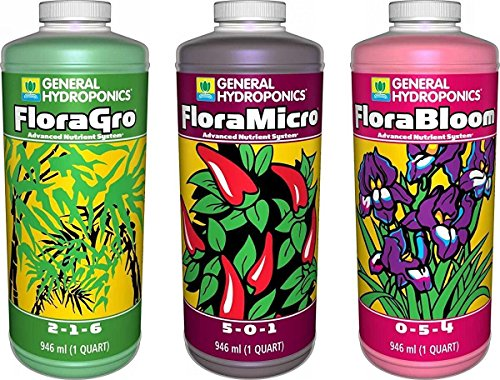 Hydroponic Fertilizer Set (Pack of 3 Quarts: Flora Grow, Bloom, Micro Combo)