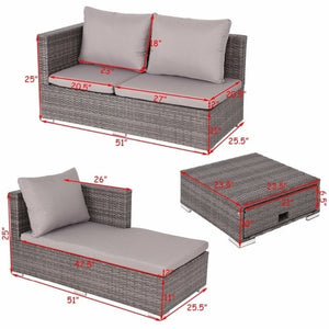 3PCS Rattan Wicker Sofa Furniture Set