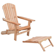 Foldable Wooden Chair with Removable Ottoman