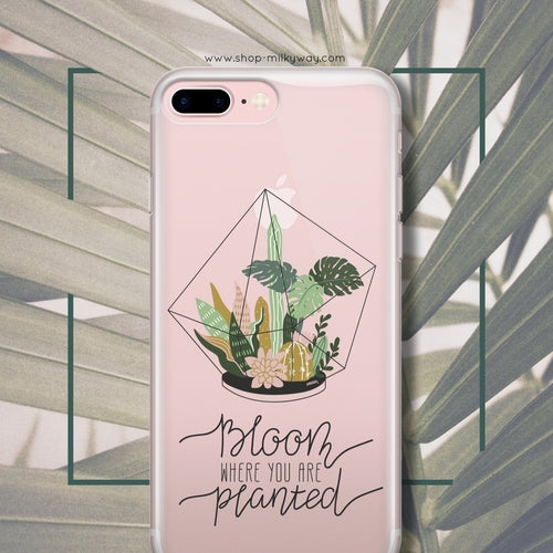 Bloom Where You Are Planted Clear Phone Case Cover