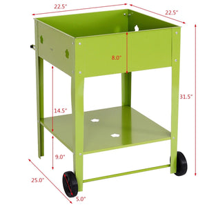 "31.5"" Elevated Raised Garden Planter Cart"