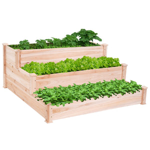 3 Tier Raised Cedar Vegetable Garden Bed
